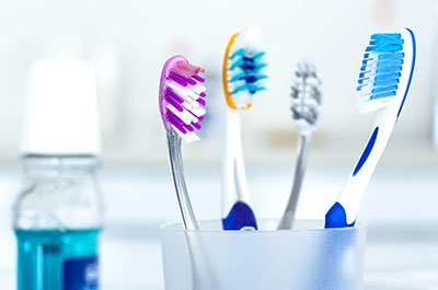 group of toothbrushes
