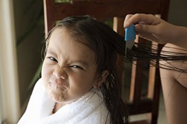 little girl with wet hair