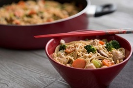 chicken and peanut lo mein horizontal with pan
