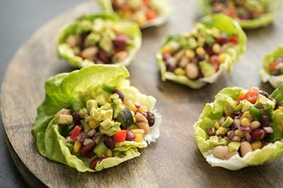 Tex-Mex Bean Salad In Lettuce Cups