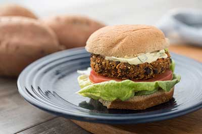 sweet potato and black bean burgers with curry-lemon sauce recipe
