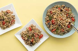 Mediterranean Summer Salad With Ancient Grains and Roasted Eggplant