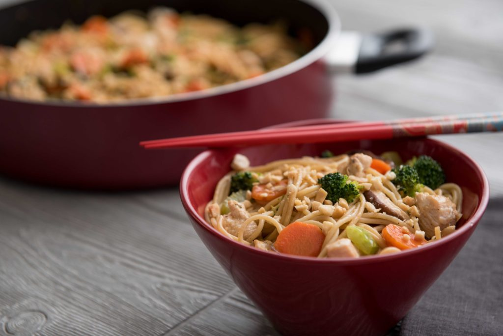 chicken and peanut lo mein horizontal with pan 1024x684