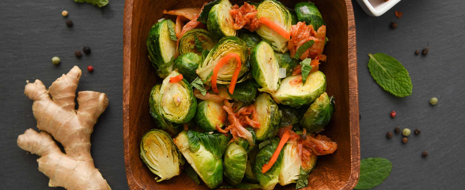 Ginger Brussels Sprouts with Kimchi