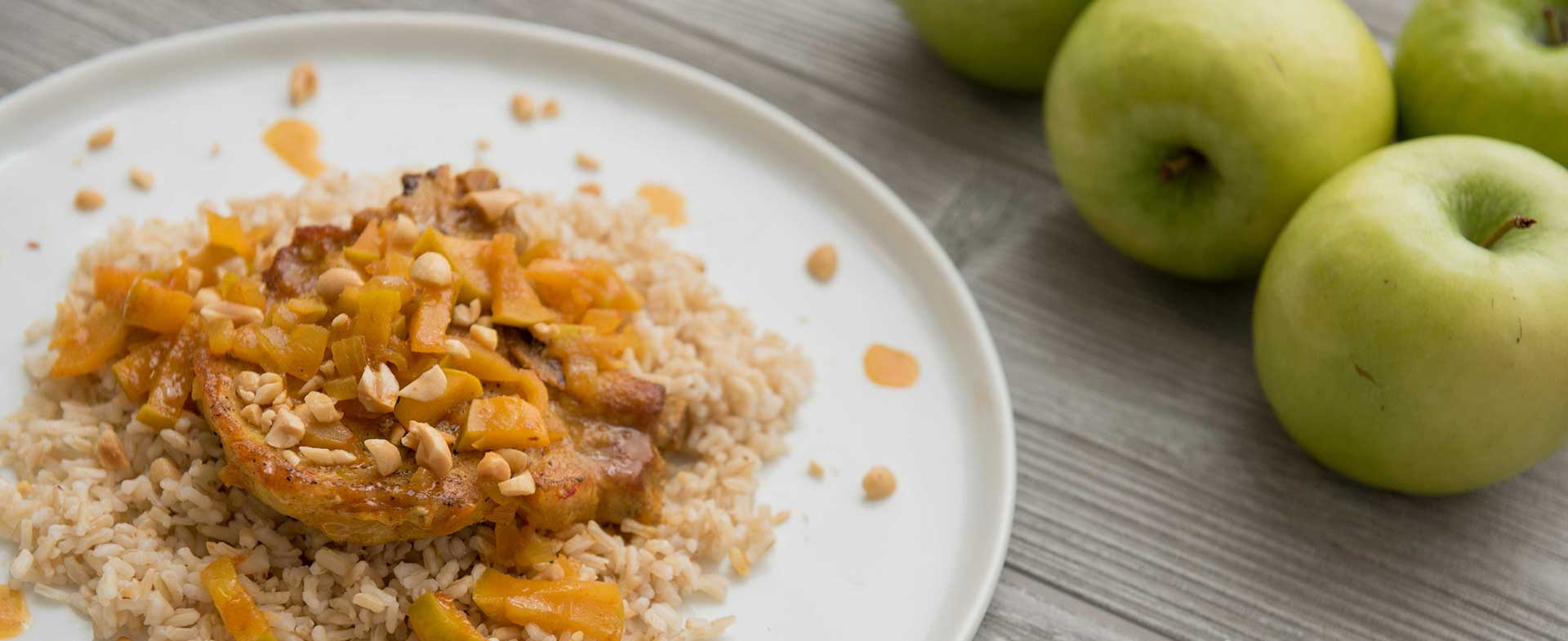 Curried pork chops with apples recipe video