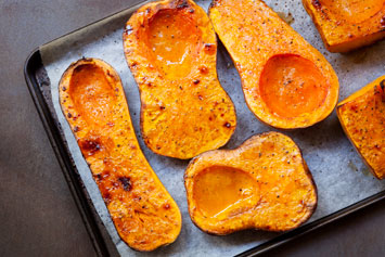 butternut squash on baking tray