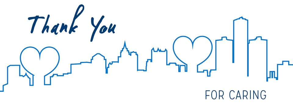cityscape with heart thank you card