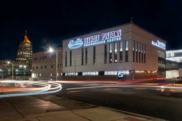Pistons performance center at night