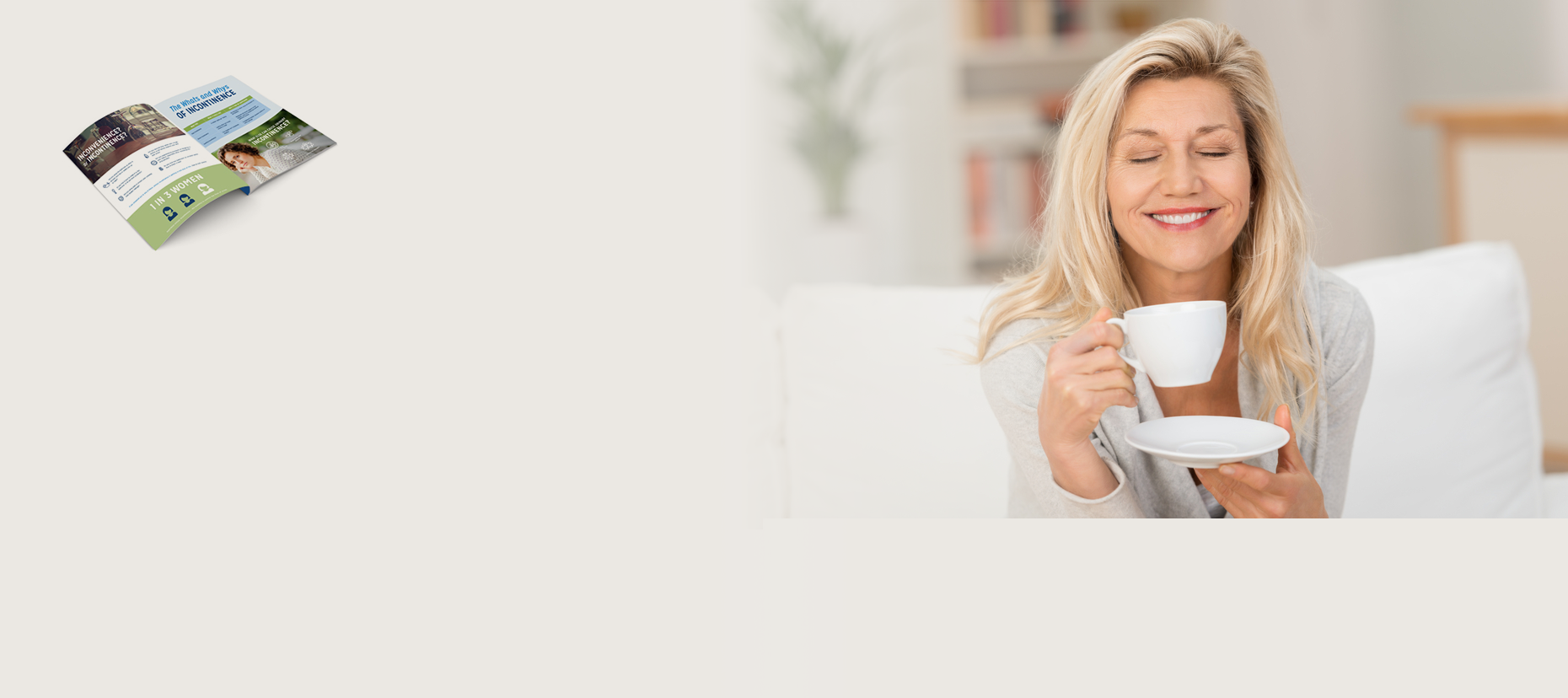 woman drinking coffee and brochure