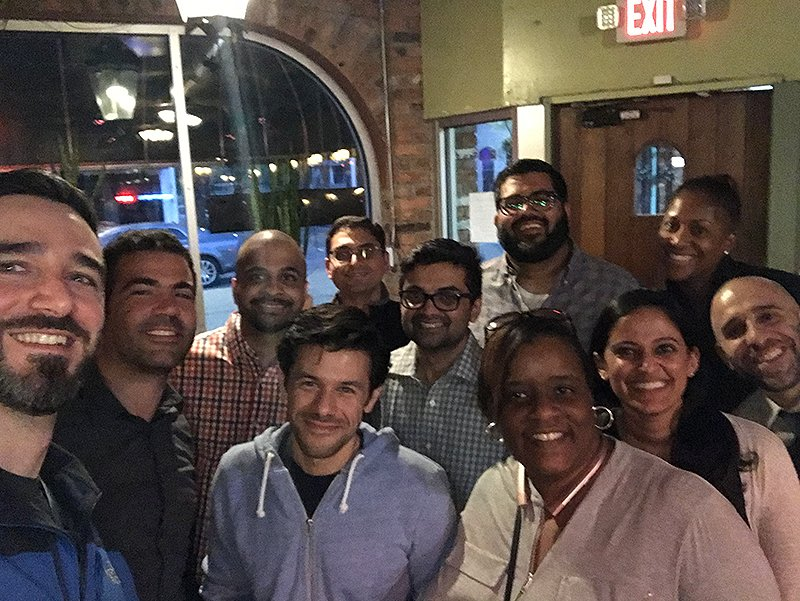 Fellows enjoying a night out together in Detroit