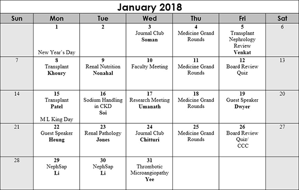January 2018 Conference Schedule Nephrology