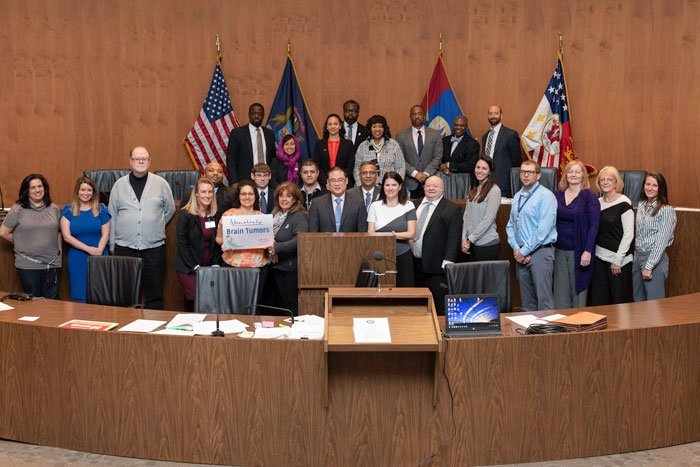 City of Detroit Declaration to recognize May as Brain Tumor Awareness Month May 7, 2019 resolved by City Council President Brenda Jones and seconded by City Council President Pro Tem Mary Mary Sheffield.  Attended by HFHS HBTC Physicians, Staff, Patients and Caregivers.  Pictured with the Detroit City Council in Chambers