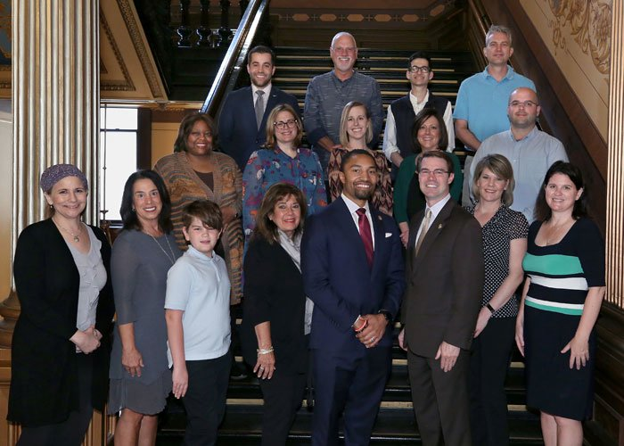 Brain Tumor Awareness Month Resolution - State of Michigan Capitol Lansing, MI May 14, 2019 State Senator Adam Hollier and seconded by State Senator Sean McCann attended by many patients and caregivers of HFHS HBTC