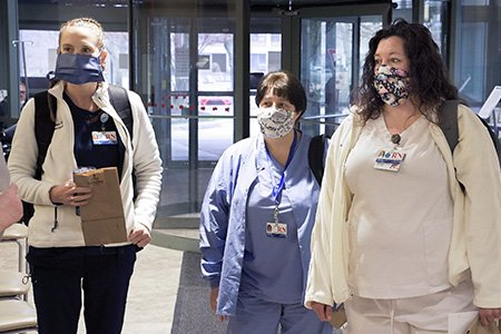 Care team in masks