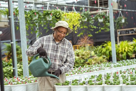 colon cancer patient donald robinson watering plants