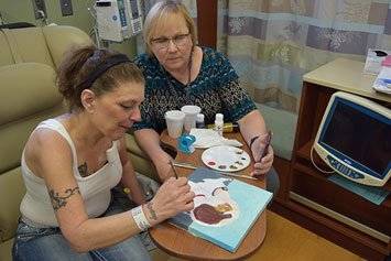 cancer patients in art therapy class