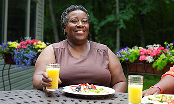 Rochelle VanDyke enjoying a meal