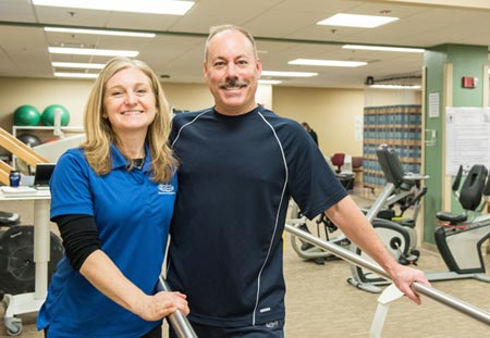 physical therapy  patient fred darga and therapist kathy