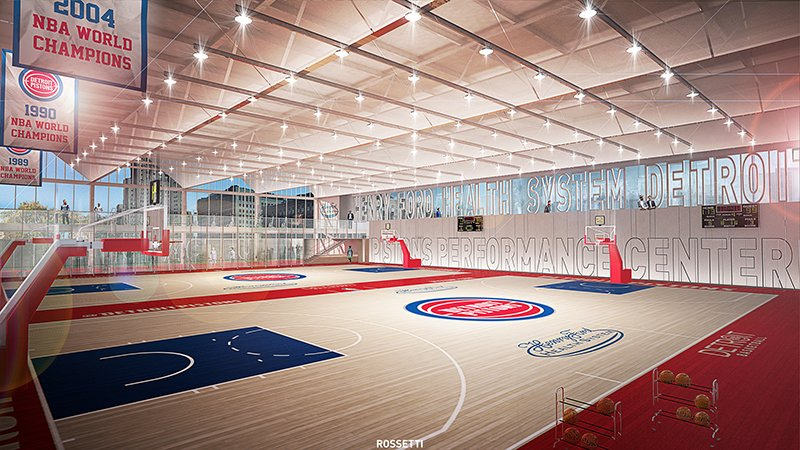 Basketball courts at new Pistons facility