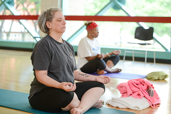 cancer patients in yoga class
